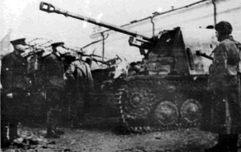 Вражеские танки, захваченные советскими войсками в боях под г. Орджоникидзе (Владикавказ)